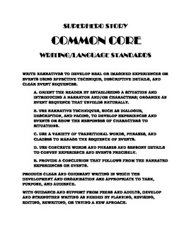 COMMON CORE SUPERHERO WRITING PROJECT:  LONG-TERM EDITING STUDENTS WILL ENJOY