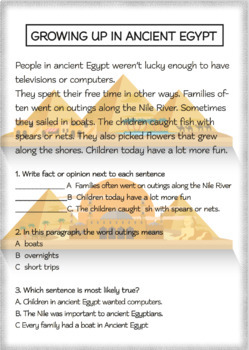 COMMON CORE Short Reading Passages Grade 3