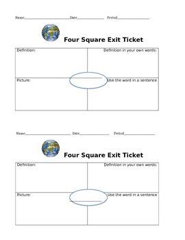 COMMON CORE  Square Vocabulary Activity4
