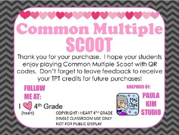 COMMON MULTIPLE SCOOT with QR Codes: 24 Multiple Choice Test Prep Cards