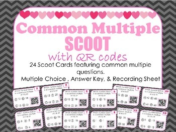 COMMON MULTIPLE SCOOT with QR Codes: 24 Multiple Choice Te
