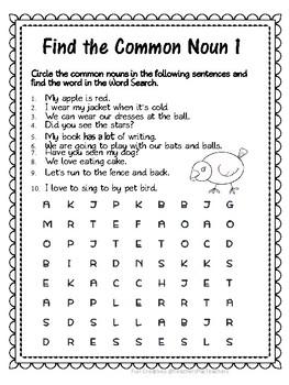 COMMON NOUN SENTENCE- Word Searches!