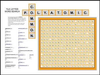 COMMON POLYATOMIC Word Search TILE LETTER PATTERN