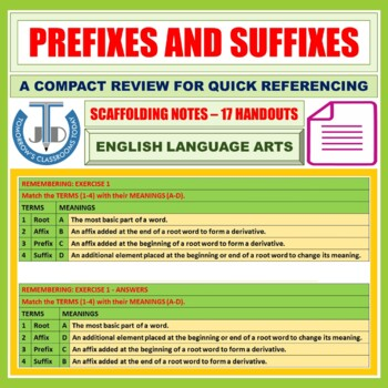 COMMON PREFIXES AND SUFFIXES: HANDOUT
