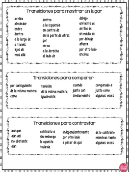 COMMON TRANSITIONS IN SPANISH