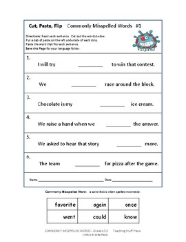 COMMONLY MISSPELLED WORDS ... Cut \u0026 Paste Worksheets ... Gr. 2-3