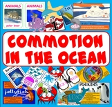COMMOTION IN THE OCEAN STORY  RESOURCES -ANIMALS SEALIFE READING ENGLISH