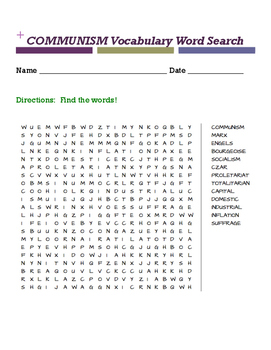 COMMUNISM Vocabulary Word Search