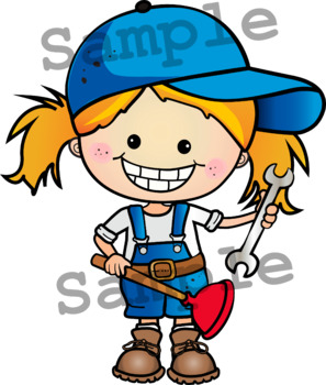 COMMUNITY HELPERS 1 Clipart. BLACK AND WHITE & Color Bundle.{Lilly Silly Billy}