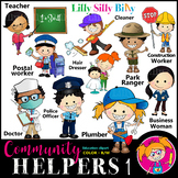 COMMUNITY HELPERS 1 Clipart. BLACK AND WHITE & Color Bundl