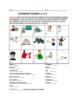COMMUNITY HELPERS: A QUIZ: GRADES K-3
