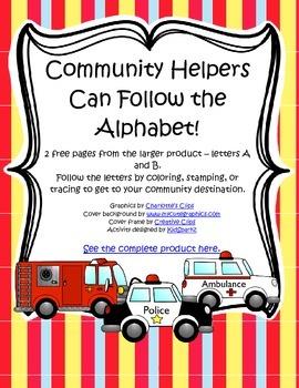 COMMUNITY HELPERS Alphabet Mazes Sample FREE
