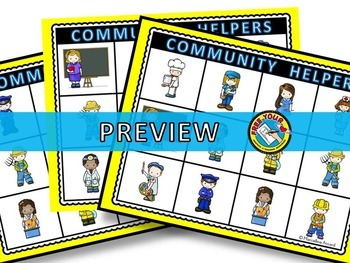 COMMUNITY HELPERS BINGO (LABOR DAY ACTIVITIES) COMMUNITY WORKERS ACTIVITIES