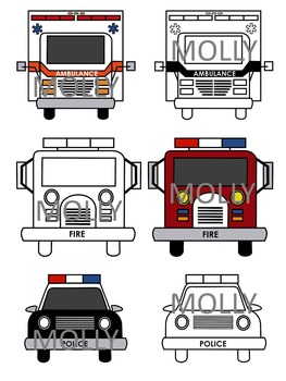 COMMUNITY HELPERS CLIP ART * EMERGENCY VEHICLES