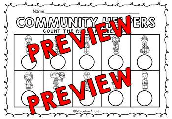COMMUNITY HELPERS KINDERGARTEN COUNT THE ROOM (NUMBERS 1-10)
