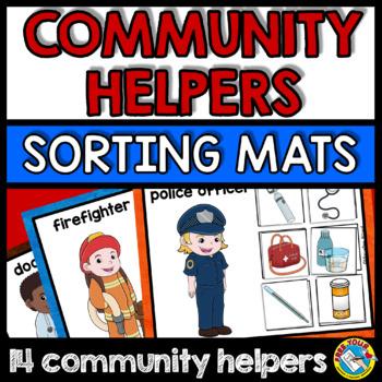 COMMUNITY HELPERS SORTING ACTIVITY (MATS + CARDS) PRESCHOOL TOOLS SORT