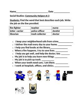 COMMUNITY HELPERS WORD BANK ACTIVITY K-3