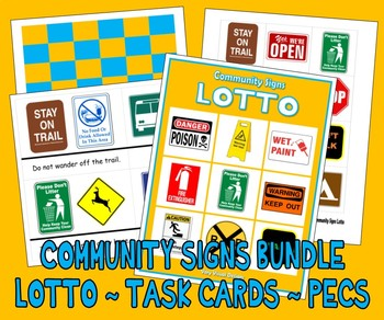 COMMUNITY SAFETY SIGNS BUNDLE: LOTTO & TASK CARDS autism match sort picture card