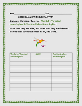 COMPARE & CONTRAST: HUMMINGBIRDS:ORNITHOLOGY ACTIVITY