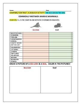 COMPARE & CONTRAST: SEA LIONS & SEALS: A ZOOLOGY ACTIVITY