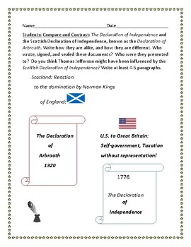 COMPARE & CONTRAST: TWO DECLARATIONS OF INDEPENDENCE:  U.S. & SCOTLAND