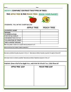 COMPARE/ CONTRAST: TWO FRUIT TREES: APPLE TREE & PEACH TREE:
