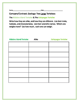 COMPARE/CONTRAST: TWO LARGE TORTOISES /SCIENCE CENTER ACTIVITY