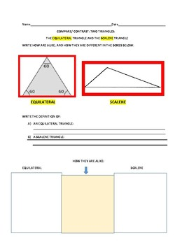 COMPARE TWO TRIANGLES: THE EQUILATERAL & THE SCALENE