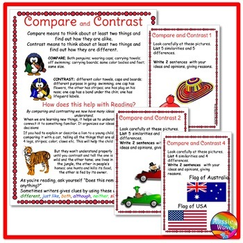 COMPARE and CONTRAST Task Cards to Improve READING COMPREHENSION SKILLS
