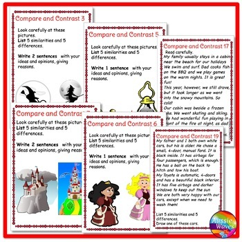 READING Task Cards for COMPARE and CONTRAST COMPREHENSION SKILLS