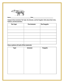 COMPARING ACTIVITY: THREE MAMMALS: The Tapir, Anteater, an