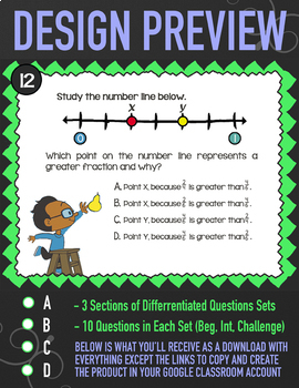 COMPARING & ORDERING FRACTIONS Task Cards ★ Google Classroom Math Activity 3NF3d