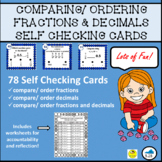 COMPARING and ORDERING FRACTIONS and DECIMALS SELF CHECKING ACTIVITY