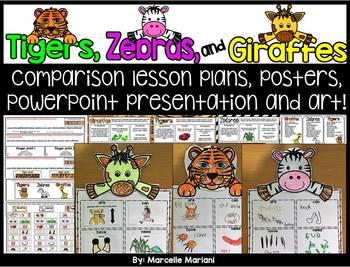 TIGER, GIRAFFE & ZEBRA ART ACTIVITY -COMPARISON LESSON AND ART