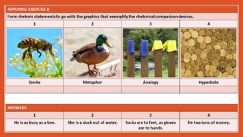 COMPARISON LITERARY DEVICES: WORKSHEETS WITH ANSWERS
