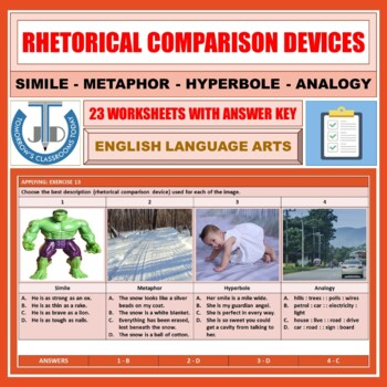 COMPARISON RHETORICAL DEVICES WORKSHEETS WITH ANSWERS