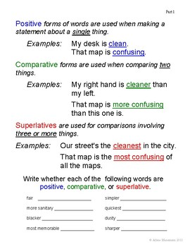 COMPARATIVES, ADVERBS and ADJECTIVES No-Prep Unit