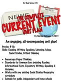 COMPLETE CURRENT EVENT UNIT; COMMON CORE READING, WRITING, SPEAKING, LISTENING