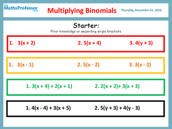 COMPLETE DIFFERENTIATED LESSON ON MULTIPLYING BINOMIALS