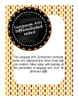 COMPLETE Differentiated Language Arts Notebook Notes