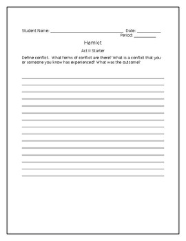 COMPLETE Hamlet Student Workbook and Teacher Answer Key