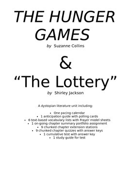 COMPLETE Hunger Games/Dystopian Literature Unit