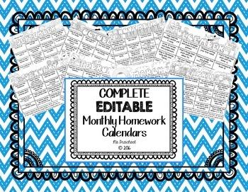 COMPLETE Monthly Homework Calendar Pack