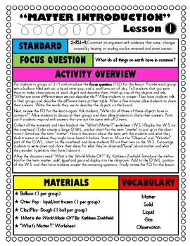 2nd Grade NGSS- Matter Unit