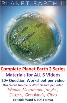 COMPLETE Planet Earth II Video Series Worksheets, Wordsearchs and Word Jumbles 2
