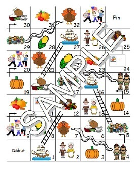 Thanksgiving FRENCH Workbook & Games Package
