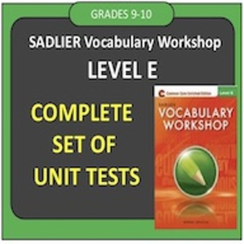 Sadlier Vocabulary Test Level A Units 1 3 Worksheets
