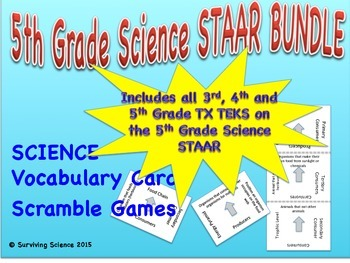 COMPLETE Texas 5th Grade Science STAAR Vocabulary Scrambles Card Games Bundle