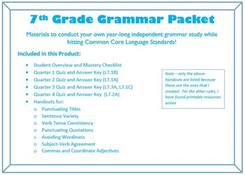COMPLETE Unit for a year of 7th Grade Grammar - Common Core Language Standards