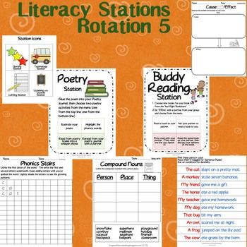 1st Grade LITERACY STATIONS: Rotation 5 of 5